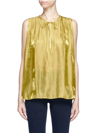 Rhié - Neck tie pleated charmeuse sleeveless top