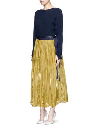 Figure View - Click To Enlarge - RHIÉ - Lambskin leather waistband pleated charmeuse skirt