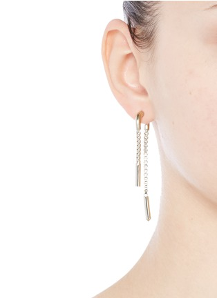 Figure View - Click To Enlarge - Eddie Borgo - 'Double Allure' padlock hoop box chain drop earrings
