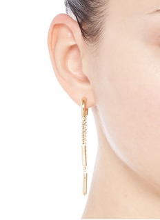 Eddie Borgo 'Double Allure' padlock hoop box chain drop earrings