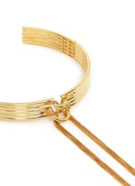 'Neo' 12k gold plated tassel bar collar