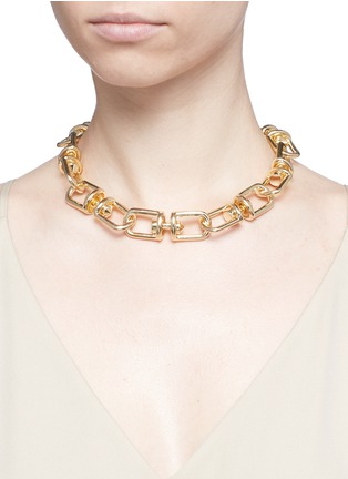 Figure View - Click To Enlarge - Eddie Borgo - 'Fame' 12k gold plated link choker necklace