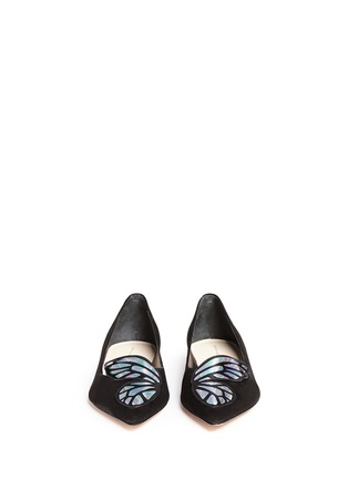 Sophia Webster - 'Bibi' holographic butterfly wing suede flats