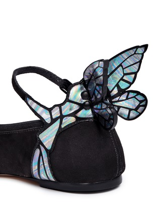 Detail View - Click To Enlarge - Sophia Webster - 'Chiara' holographic butterfly appliqué suede Mary Jane flats