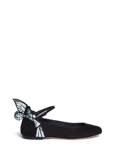 SOPHIA WEBSTER 'Chiara' holographic butterfly appliqué suede Mary Jane flats