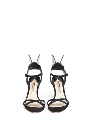 Front View - Click To Enlarge - Sophia Webster - 'Chiara' holographic butterfly appliqué suede sandals