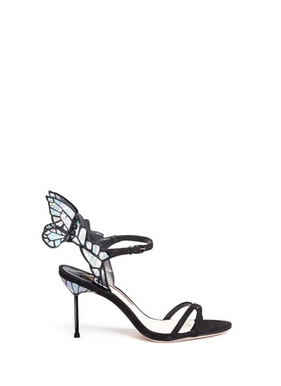 Main View - Click To Enlarge - Sophia Webster - 'Chiara' holographic butterfly appliqué suede sandals