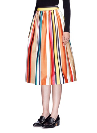 Front View - Click To Enlarge - alice + olivia - 'Nikola' variegated stripe cotton skirt