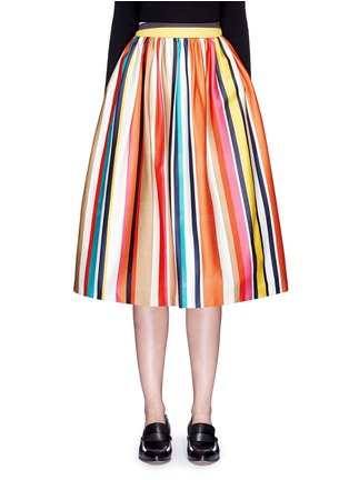 Main View - Click To Enlarge - alice + olivia - 'Nikola' variegated stripe cotton skirt