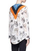 'Alida' stripe cat print silk top
