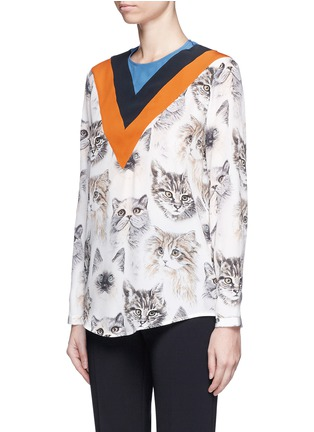 Front View - Click To Enlarge - Stella McCartney - 'Alida' stripe cat print silk top