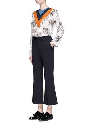 Figure View - Click To Enlarge - Stella McCartney - 'Alida' stripe cat print silk top
