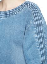 Frayed trim cotton denim dress