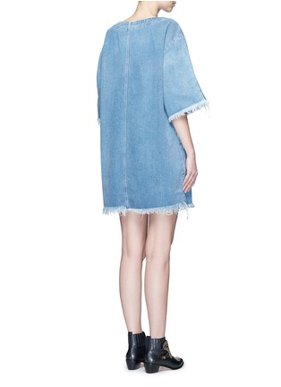 Back View - Click To Enlarge - Chloé - Frayed trim cotton denim dress