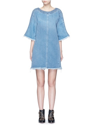 Main View - Click To Enlarge - Chloé - Frayed trim cotton denim dress
