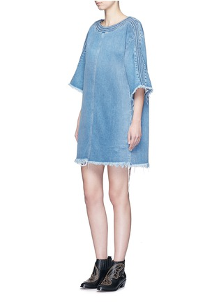 Figure View - Click To Enlarge - Chloé - Frayed trim cotton denim dress