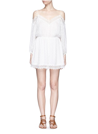 Main View - Click To Enlarge - Zimmermann - 'Realm' eyelash lace silk georgette playsuit