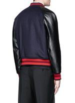 Leather sleeve wool felt baseball jacket