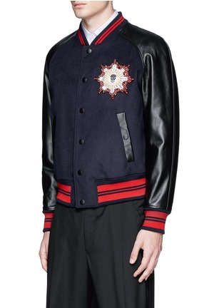 Front View - Click To Enlarge - Alexander McQueen - Leather sleeve wool felt baseball jacket