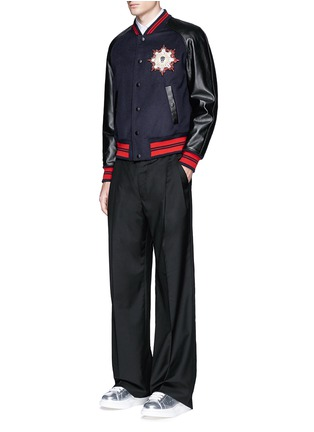 Figure View - Click To Enlarge - Alexander McQueen - Leather sleeve wool felt baseball jacket
