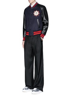 Alexander McQueen Leather sleeve wool felt baseball jacket