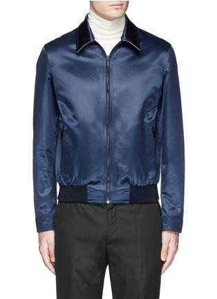 Detail View - Click To Enlarge - Alexander McQueen - Swallow embroidery reversible satin blouson jacket