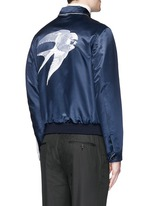 Swallow embroidery reversible satin blouson jacket