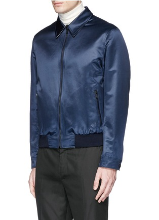 Front View - Click To Enlarge - Alexander McQueen - Swallow embroidery reversible satin blouson jacket