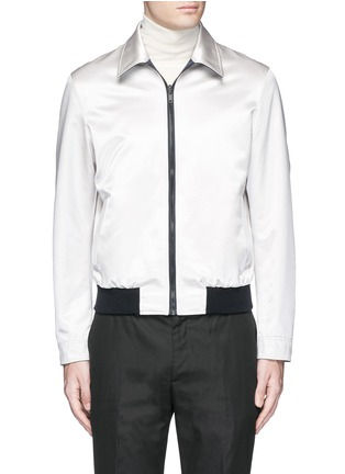 Main View - Click To Enlarge - Alexander McQueen - Swallow embroidery reversible satin blouson jacket