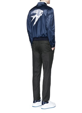 Figure View - Click To Enlarge - Alexander McQueen - Swallow embroidery reversible satin blouson jacket