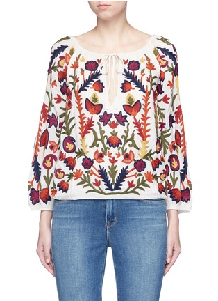 Main View - Click To Enlarge - alice + olivia - 'Naya' floral embroidery peasant top
