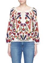'Naya' floral embroidery peasant top