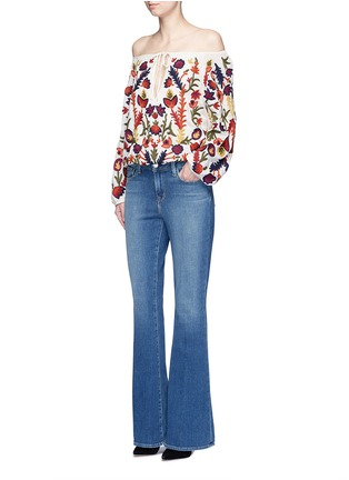 Figure View - Click To Enlarge - alice + olivia - 'Naya' floral embroidery peasant top