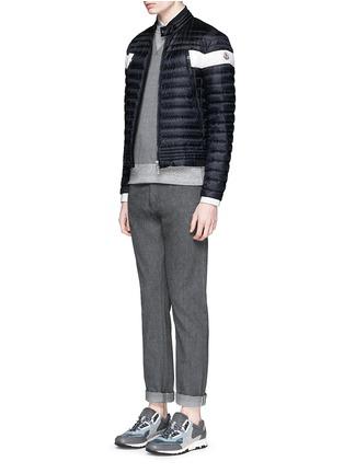 模特儿示范图 - 点击放大 - MONCLER - FORET拼色羽绒机车夹克