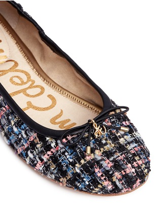 Detail View - Click To Enlarge - Sam Edelman - 'Felicia' metallic bouclé tweed ballet flats