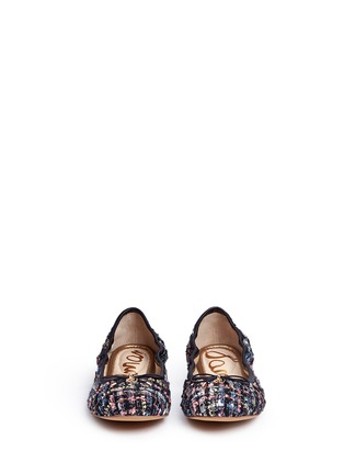 Front View - Click To Enlarge - Sam Edelman - 'Felicia' metallic bouclé tweed ballet flats