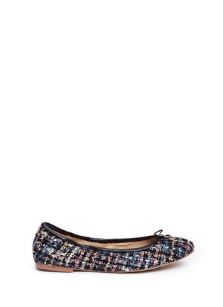 Main View - Click To Enlarge - Sam Edelman - 'Felicia' metallic bouclé tweed ballet flats