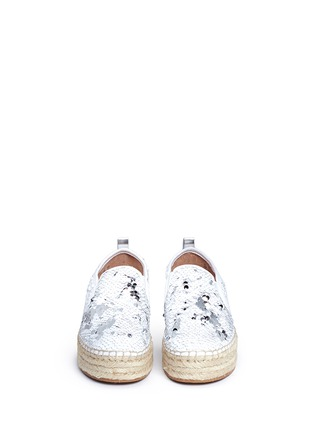 Front View - Click To Enlarge - Sam Edelman - 'Carrin' sequin flatform espadrilles