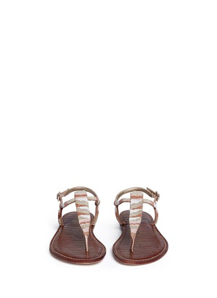 Front View - Click To Enlarge - Sam Edelman - 'Gail' beaded T-strap flat sandals
