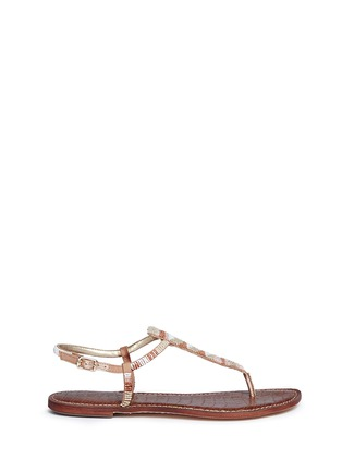 Main View - Click To Enlarge - Sam Edelman - 'Gail' beaded T-strap flat sandals