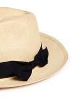 翻折蝴蝶结帽带草编巴拿马帽