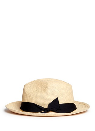 模特儿示范图 - 点击放大 - SENSI STUDIO - 翻折蝴蝶结帽带草编巴拿马帽