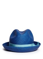 Feather straw Panama trilby hat