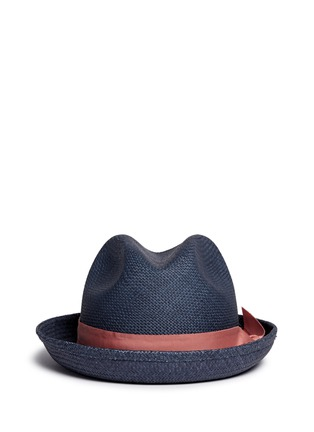 Main View - Click To Enlarge - Sensi Studio - Feather straw Panama trilby hat