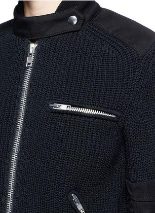 细节 - 点击放大 - SACAI - 双层拼贴针织机车夹克