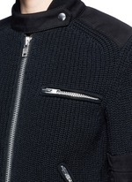 双层拼贴针织机车夹克