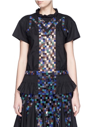 Sacai - Gridwork bobbin lace pleat ruffle top