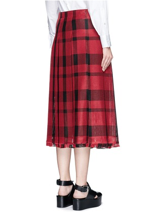 Back View - Click To Enlarge - Sacai - Check plaid pleated side split skirt
