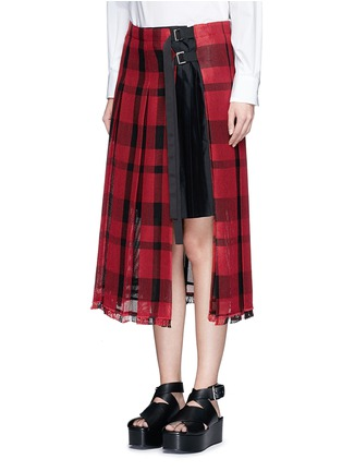 Front View - Click To Enlarge - Sacai - Check plaid pleated side split skirt