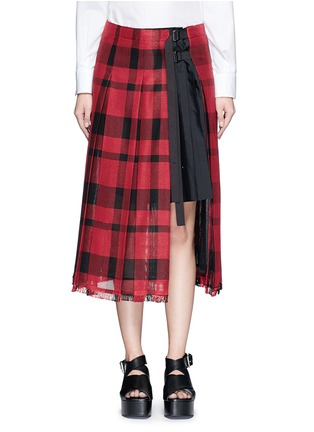 Main View - Click To Enlarge - Sacai - Check plaid pleated side split skirt